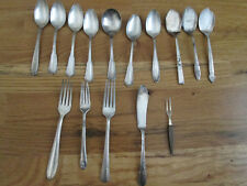 Mixed Silverplate Piece Lot 15 Flatware Forks Spoons Knives Vintage