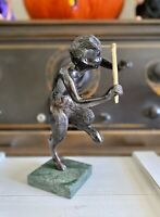 VINTAGE BRONZE PAN FAUN SATYR BLOWING HIS FLUTES SCULPTURE GREEN MARBLE BASE