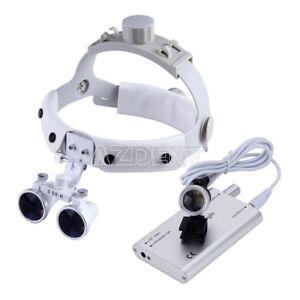 Dental 3.5X Loupes Surgical Binocular Headband Glass Magnifier LED Head Light