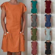 Summer Women Linen Dress Pocket Button Decor Zipper Back Loose Short Mini Dress