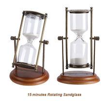 15 minutes Rotating Sand Hourglass Sandglass Sand Timer Clock Gift Ornament JS