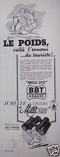 PUBLICITÉ 1936 KRAUSS BBT JUMELLE LÉGÈRE MILLI 312 - ADVERTISING