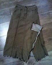 SANDWICH lagenlook skirt size 8 khaki brown/green boho A line fringe hem split
