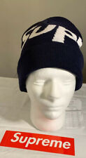 SUPREME BIG LOGO BEANIE NAVY, OS FW19 WEEK 7 (IN HAND) AUTHENTIC. FAST SHIPPING*