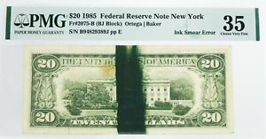 Series Of 1985 $20 FRN New York Fr#2075-B Ink Smear Error Note PMG Ch VF35 Stain