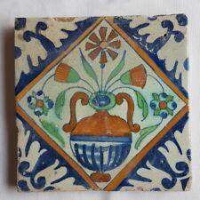 Antique 17th century Delft Wall Tile polychrome floral flower vase design