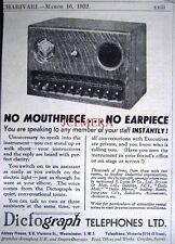 1932 'DICTOGRAPH' Office Intercom ADVERT - Small Art Deco Telephones Print Ad