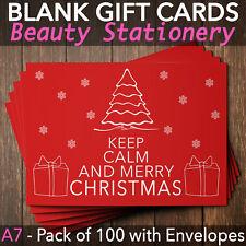 Christmas Gift Vouchers Blank Beauty Salon Card Nail Massage x100 A7+Envelope KC