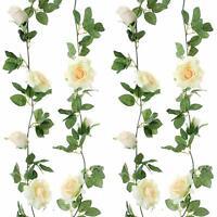 2×Künstliche Blumengirlande Rosen Girlande Hängende Seidenblumen &Blättern 2.5M