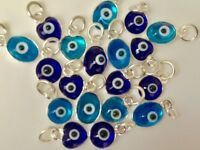 925 Sterling Silver Blue Evil Eye Mati Nazar Pendant Charm Round Oval Heart