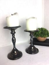Pottery Barn ANTIQUE Style set 2 PILLARS Candle Holders Silver Tarnished Heavy