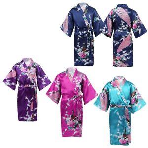 Girls Sleepwear Peacock Flower Satin Kimono Robe Bathrobe Summer Spa Party Wear