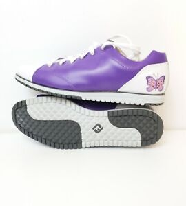 Footjoy Casual Collection Womens Purple & White Golf Shoes W/ Butterfly Sz 9