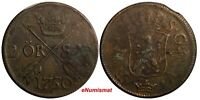 Sweden Frederick I 1750 2 Ore, S.M. Low Mintage-353,000 Brown KM# 437