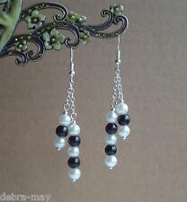 Black and White Glass Pearl Dangly Chain Silver Plated Drop Earrings