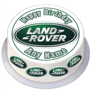 Birthday Land Rover Round Edible Cake Topper Personalised for 7 / 8 inch Cake
