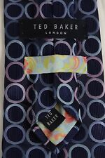 TED BAKER LONDON NAVY BLUE PINK PURPLE SILK CIRCLE PATTERNED NECK TIE 3.75 60