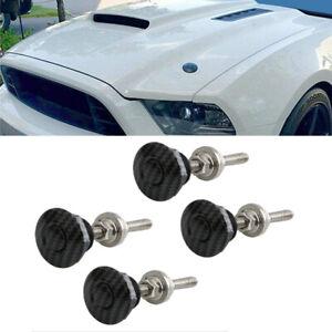 4X Car Push Button Hood Quick Release Pins Bonnet Lock Latch Carbon Fiber Look