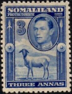 Somaliland 1938 3a.Bright Blue  SG.96 Mint (Hinged)    Cat:£18