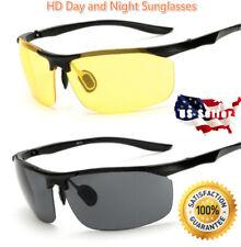2 Pairs Day & Night Vision HD Sunglasses UV400 Men Women Driving Aviator Glasses
