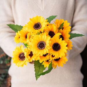 Lifelike 13 Head Artificial Sunflower Satin Flower Bouquet Home Party Decoration