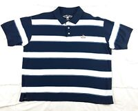 Beverly Hills Polo Club Mens XL Polo Shirt Short Sleeve Striped Blue PRE OWNED