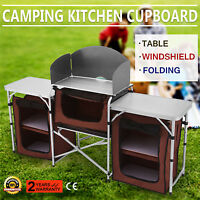 Camping Kitchen Picnic Cabinet Table Portable Folding Cook Storage Rack Alu