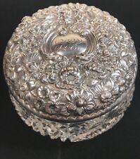1890s LARGE STERLING SIVER REPOUSSE & CUT CRYSTAL DRESSER VANITY JAR ART NOUVEAU