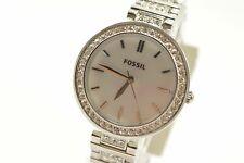 Fossil BQ3480 Karli Silver Tone Crystal Accent Bracelet Ladies Watch