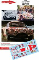 DECALS 1/18 REF 574 ALPINE RENAULT A110 MOSS RALLYE MONTE CARLO 1972 RALLY WRC