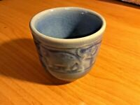 Siam Celadon Blue Elephant Cup Pottery Wood Glaze Thailand