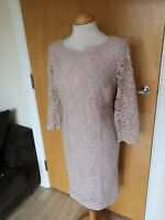 Ladies DEBENHAMS Dress Size 12 Cream Lace Wiggle Pencil Party Evening Wedding