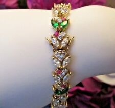 "8"" Gold Plated Simulated Ruby Emerald & Diamond Marquise Bracelet"