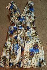 Rajrang Ladies Short, Sleeveless Dress, White/blue floral, Md.
