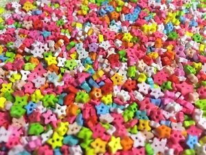 50 pcs mini colorful star buttons  2 holds  Embellishments size 3 mm No 9