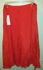 Women Valerie Stevens skirt sz XL 14 16 Coral Red Long Flowy lined skirt NEW $50