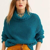 Free People My Only Sunshine Sweater S GUC Blue Oversize Mock Neck 8474