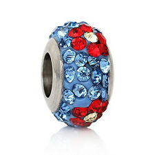 Stainless Steel European Style Charm Beads Round Silver Tone With Blue & Red Rhi