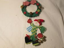 Christmas Door Wall Wreath Hanging Decoration with Snowman
