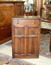 "English Antique Oak Art Deco 2 Doors & 1 Drawer Cabinet  H 45.5"" x W 30"" x D 17"""