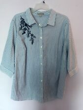 Woman Within Women's Plus Size 2X 26/28 Striped Button Down Shirt Top New