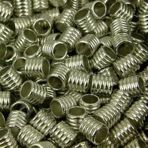 50 x CCB Plastic Silver Spacer Beads Large Hole 10x10mm Ribbed Finish NP31