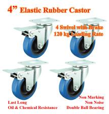 "4""(100mm)Elastic Rubber Castor Wheel,4 Swivel Casters with Brake,Trolley Bench"