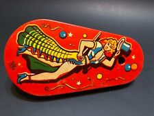 Vintage US Metal Toys Tin Litho Spinner Party Noise Maker Lady Woman Dancer RARE