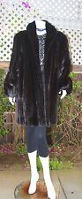 Immaculate Real Black Brown Female Ranch Mink Fur Coat Stroller Soft Supple L