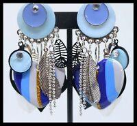 Grandes boucles d oreilles BIJOUX LOL clip bleu coeur strass Lolilota plume