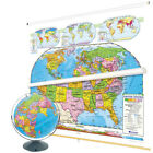 Nystrom Political U.S. and World Combo Map Classroom Pack with Relief Globe