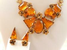 16ca47b2a CORO 1934 Topaz CRYSTAL NECKLACE EARRINGS Set Ornate BOOK Link 16