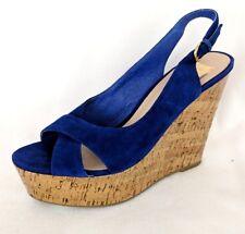 546ce6f28072 Dolce Vita Jill Blue Suede Glossy Cork Wedge Platform Heels Slingback Sandal  8.5