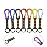 Carabiner Clip Hiking Climbing Hook Buckle With Strap Key Ring Keychain AU